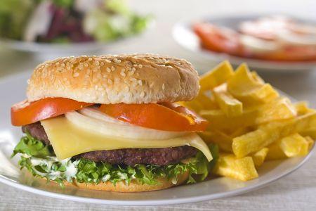 juicy hamburger meat lettuce tomato and onion mayonnaise Stock Photo - 3792324
