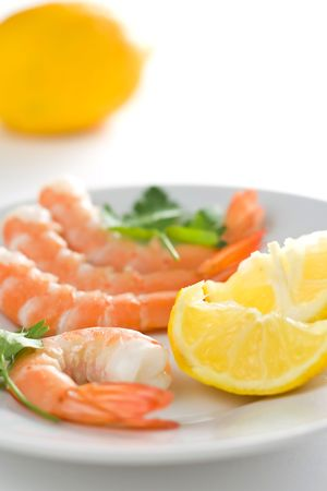 delicious fresh cooked shrimp prepared to eat photo