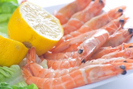 delicious salad of fresh prawns prepared to eat photo