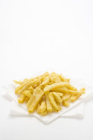 bowl of homemade chips isolation on a white background photo