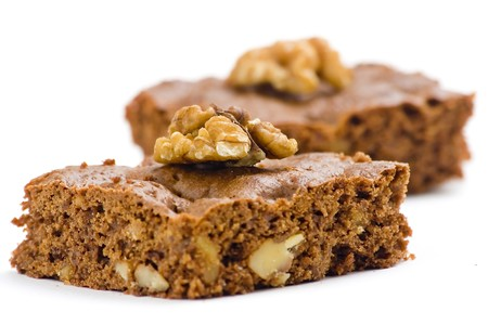 hot chocolate brownie with walnuts and vanilla isolated photo