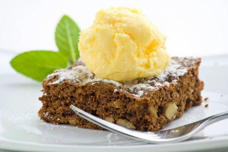 brownies: hot chocolate brownie with walnuts and vanilla isolated