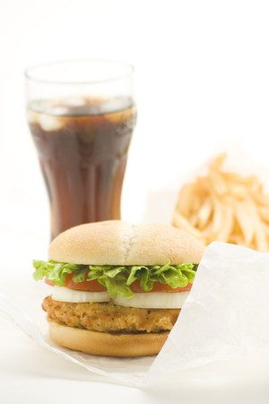 crisp chicken burger with tomato onion cheese lettuce isolated Stock Photo - 4302561