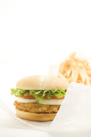 crisp chicken burger with tomato onion cheese lettuce isolated Stock Photo - 4302603