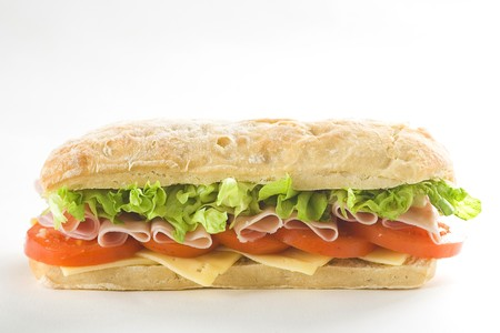 delicious sandwich of ham cheese lettuce fresh tomato photo