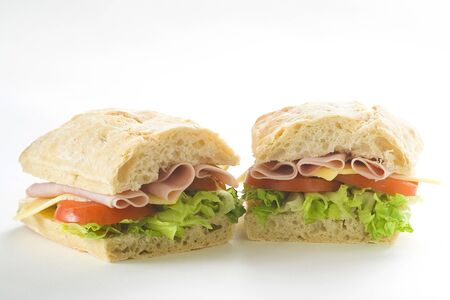 delicious sandwich of ham cheese lettuce fresh tomato