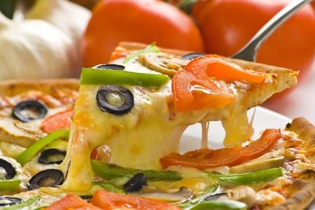 homemade pizza with fresh tomato olive mushroom cheese isolated Stock Photo - 4512874