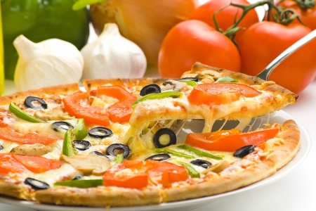 veggie tray: homemade pizza with fresh tomato olive mushroom cheese isolated