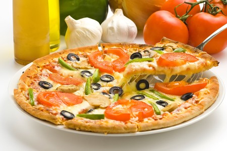homemade pizza with fresh tomato olive mushroom cheese isolated photo