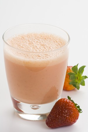 delicious refreshing strawberry orange banana milkshake natural isolated photo