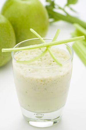 fresh fruit milk shake apple and celery