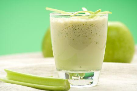 fresh fruit milk shake apple and celery photo