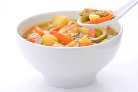 soup bowl: Chinese chicken soup with potatoes and peppers Stock Photo