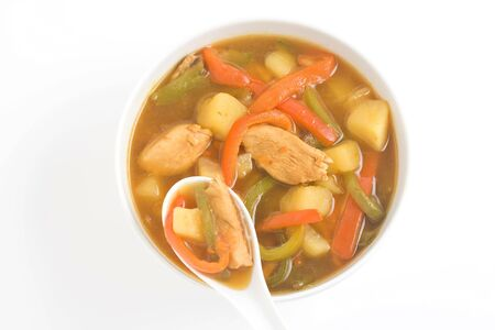 Chinese chicken soup with potatoes and peppers Stock Photo - 4590684