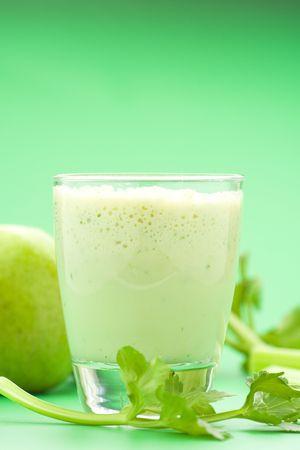 fresh fruit milk shake apple and celery Stock Photo - 4599232