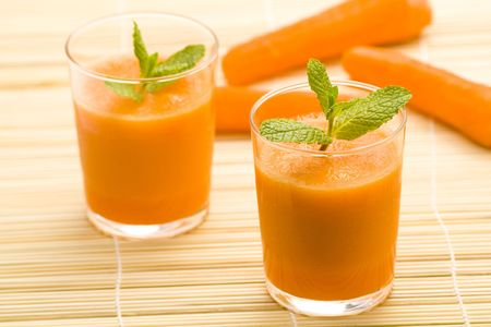 delicious and fresh carrot juice and mint Stock Photo