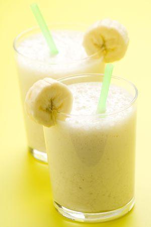 fresh fruit milk shake banana and caramel isolated photo