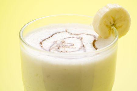 fresh fruit milk shake banana and caramel isolated Stock Photo