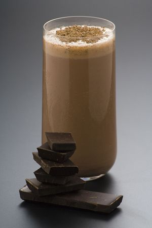 refreshing chocolate shake with chocolate Birutes isolated photo
