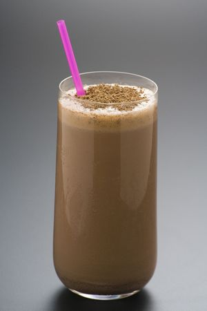 refreshing chocolate shake with chocolate Birutes isolated