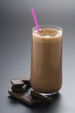 refreshing chocolate shake with chocolate Birutes isolated photo