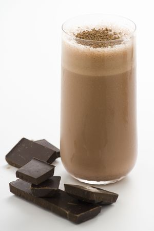 refreshing chocolate shake with chocolate Birutes isolated