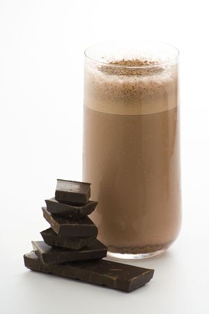 refreshing chocolate shake with chocolate Birutes isolated Stock Photo - 4732306
