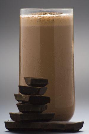 chocolate shake: refreshing chocolate shake with chocolate Birutes isolated