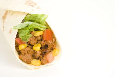 delicious fajitas beef lettuce tomato pepper corn isolated photo