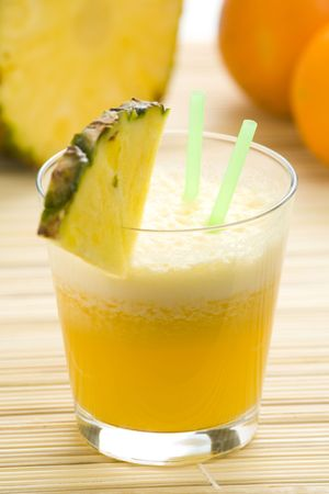 refreshing and creamy pineapple and orange milkshake Stock Photo - 4852332