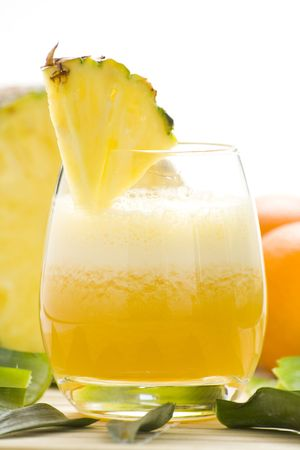 refreshing and creamy pineapple and orange milkshake Stock Photo