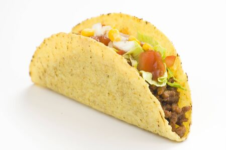 delicious taco, mexican food isolated over white  Stock Photo