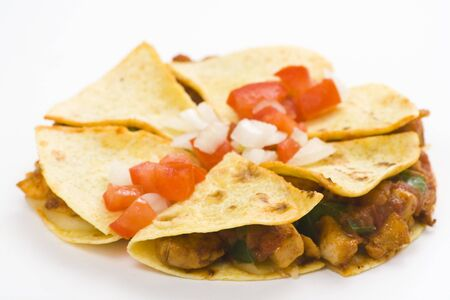 delicious chicken quesadilla and fresh vegetables isolated