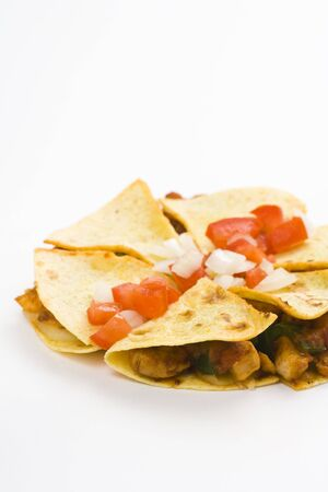 delicious chicken quesadilla and fresh vegetables isolated photo