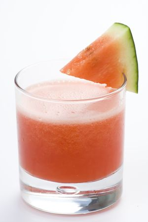 refreshing cold watermelon juice isolated over white photo