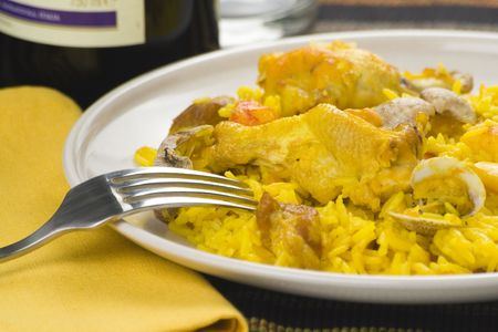 delicious seafood paella and chicken rice yellow isolated Stock Photo - 5082529