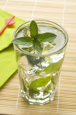 mojito cool cuban cocktail ice lime mint  isolated Stock Photo - 5408446
