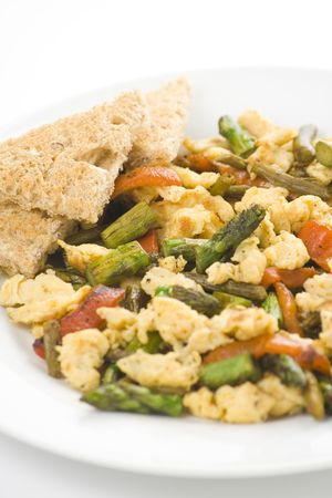 recipe decorated: asparagus omelette red pepper and slices of bread isolated