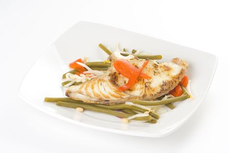 grilled fillet of fish and soy beans isolated photo