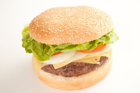 Fresh homemade Beef tomato cheese onion burger isolated Stock Photo - 5616504