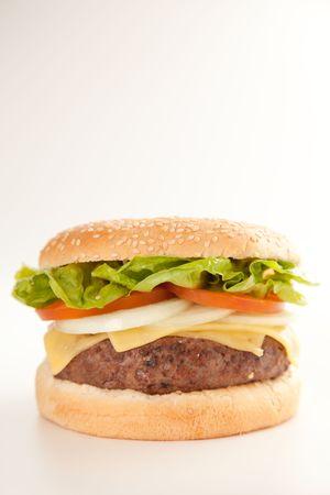 Fresh homemade Beef tomato cheese onion burger isolated Stock Photo - 5616534