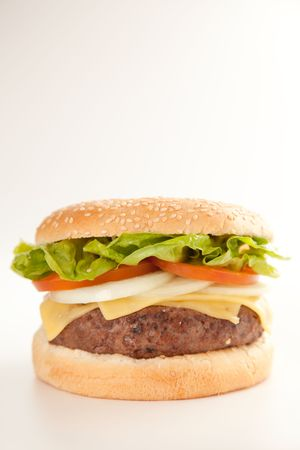 Fresh homemade Beef tomato cheese onion burger isolated Stock Photo - 5616534