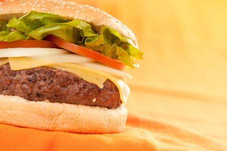 Fresh homemade Beef tomato cheese onion burger isolated Stock Photo - 5627589