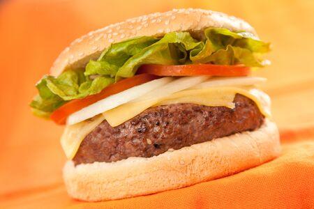 Fresh homemade Beef tomato cheese onion burger isolated Stock Photo - 5627590