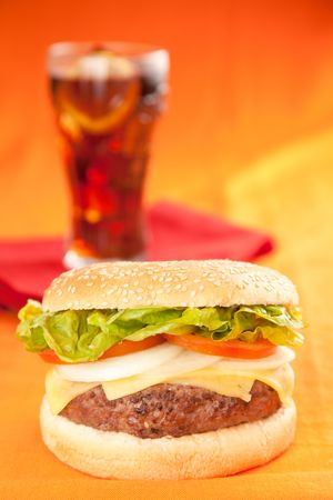 Fresh homemade Beef tomato cheese onion burger isolated Stock Photo - 5627593