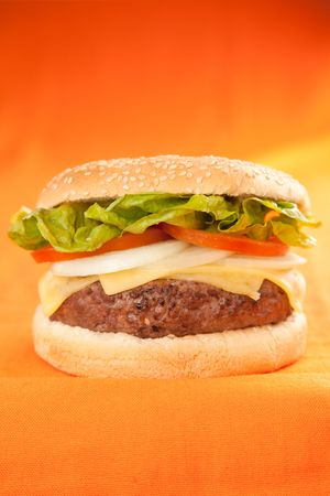 Fresh homemade Beef tomato cheese onion burger isolated Stock Photo - 5627901