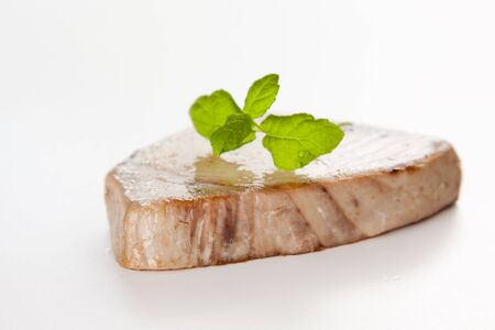 tasty tuna steak prepared whith fresh vegetables Stock Photo
