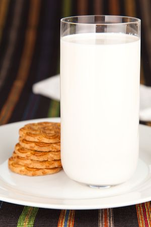 pasteurized: Fresh glass of milk and a few Cookies