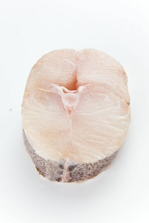 hake: Fresh hake slice isolated over white background