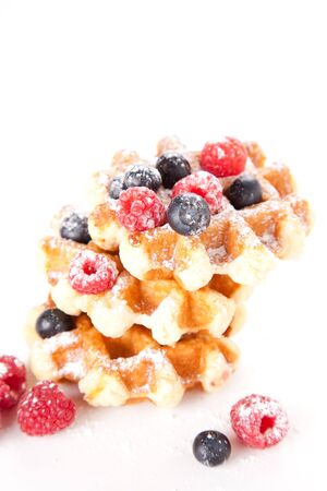 breakfast of tasty Waffles isolated over white photo